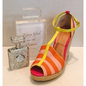 Anthropologie Shoes - SEYCHELLES ANTHRO  Striped Peep TOE Wedge SANDAL 9